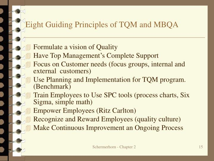 Eight Guiding Principles of TQM and MBQA