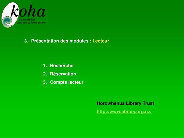 Présentation des modules :