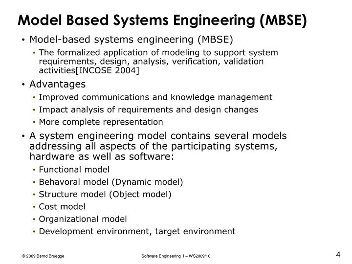 Model Based Systems Engineering (MBSE)