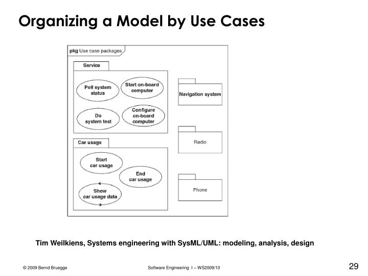 Organizing a Model by Use Cases