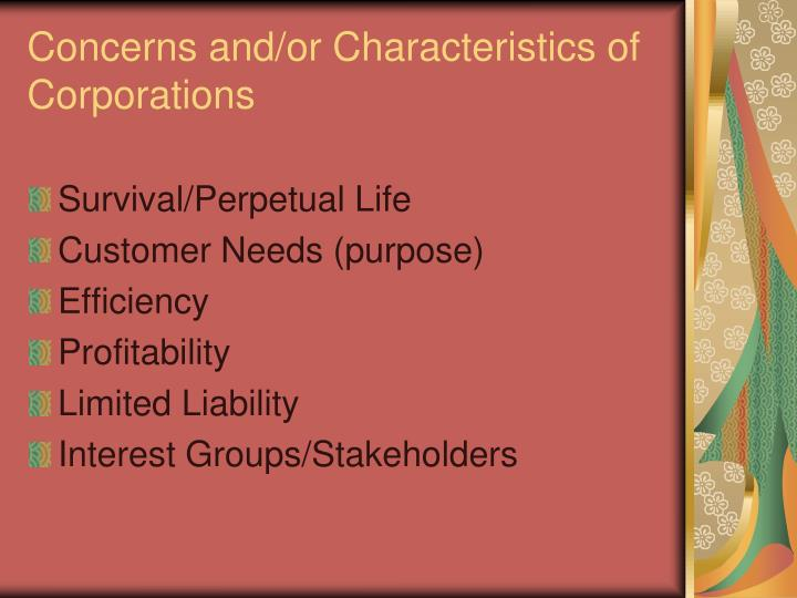 Concerns and/or Characteristics of Corporations