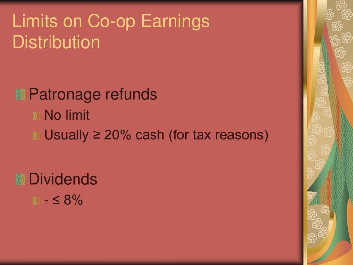 Limits on Co-op Earnings Distribution