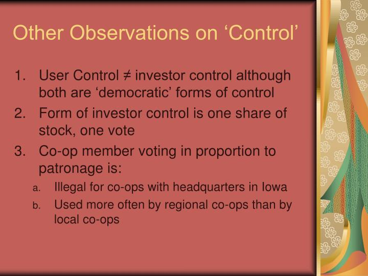 Other Observations on 'Control'