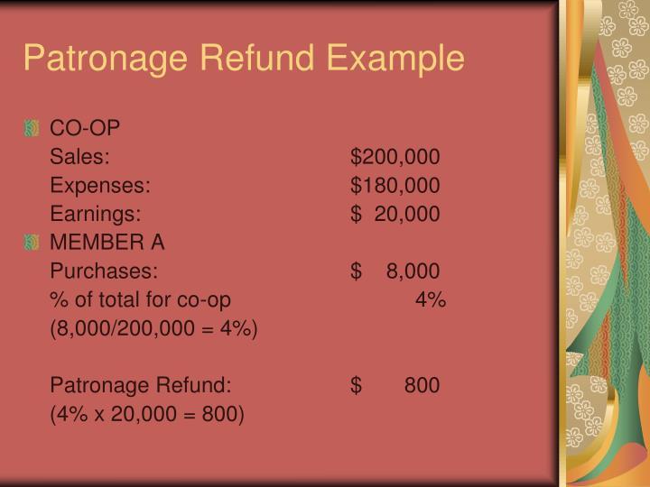 Patronage Refund Example