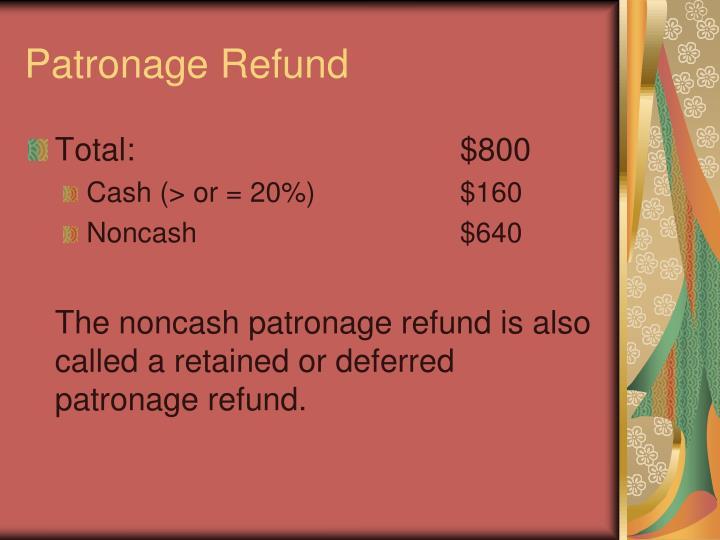 Patronage Refund