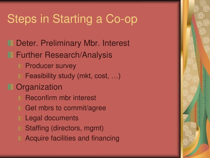 Steps in Starting a Co-op