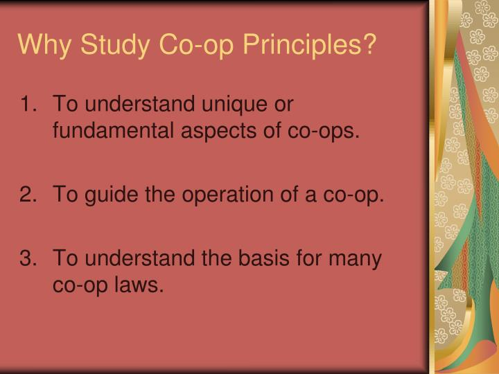 Why Study Co-op Principles?