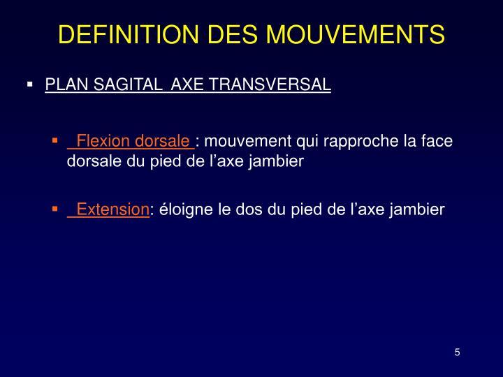 DEFINITION DES MOUVEMENTS