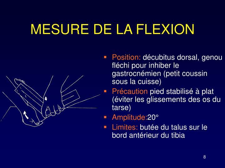 MESURE DE LA FLEXION