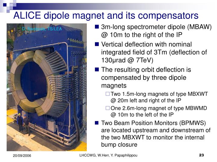ALICE dipole magnet and its compensators