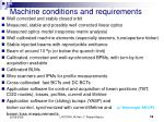 machine conditions and requirements