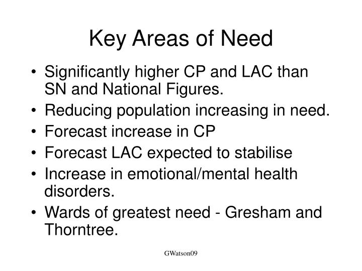 Key Areas of Need