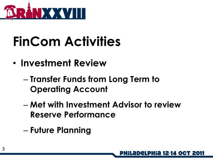 FinCom Activities