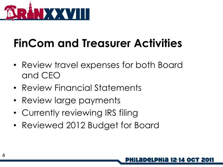 FinCom and Treasurer Activities