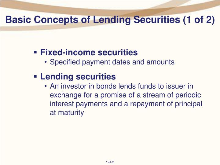 Basic concepts of lending securities 1 of 2