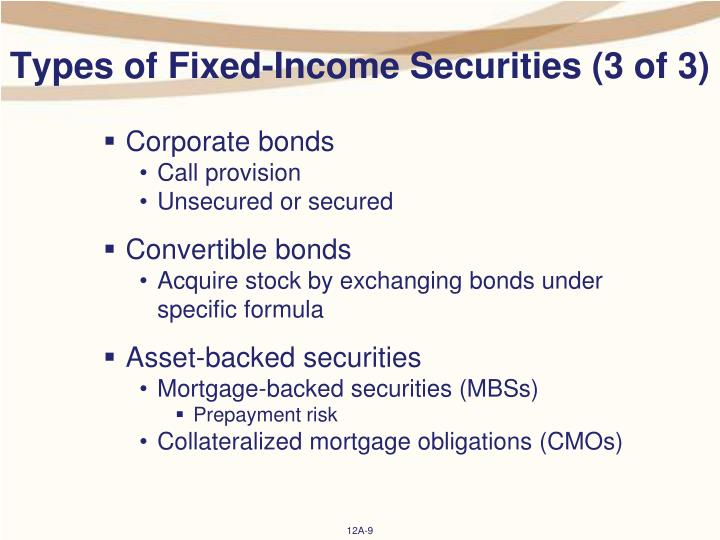 Types of Fixed-Income Securities (3 of 3)