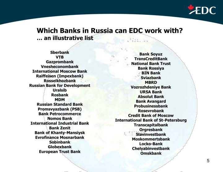 Which Banks in Russia can EDC work with?
