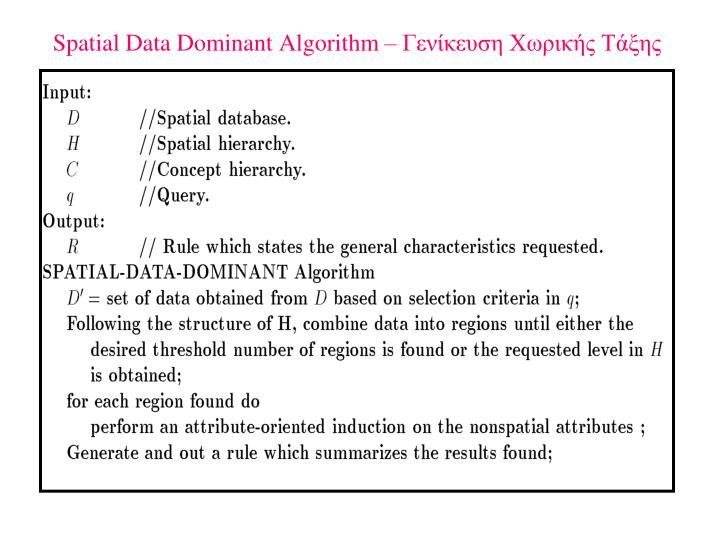 Spatial Data Dominant Algorithm