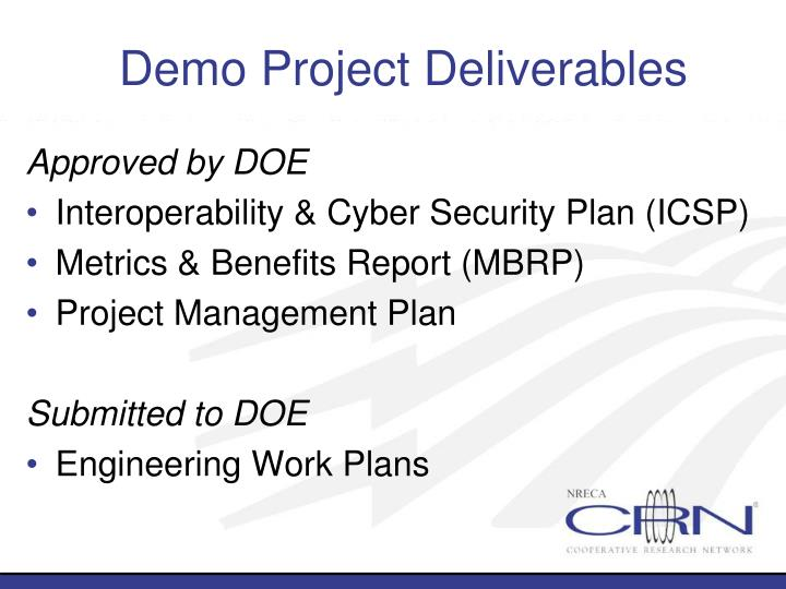Demo Project Deliverables