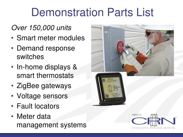 Demonstration Parts List