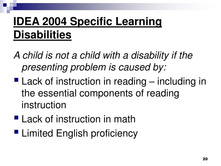 IDEA 2004 Specific Learning Disabilities