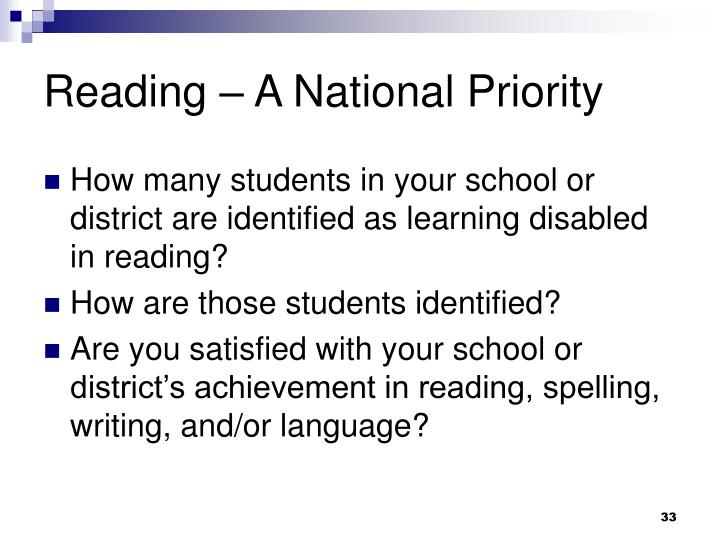 Reading – A National Priority