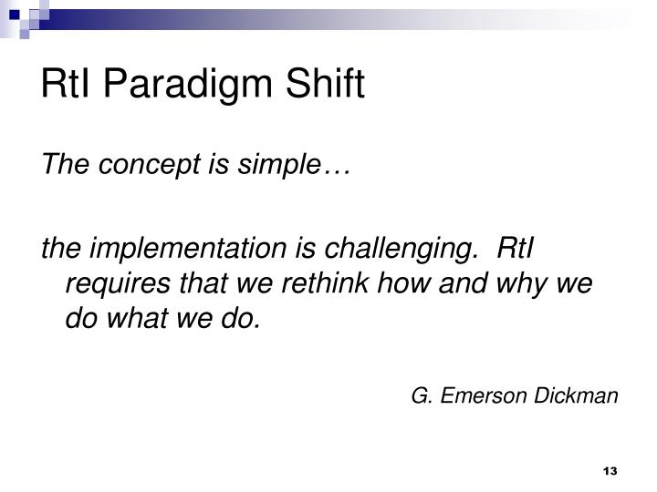 RtI Paradigm Shift