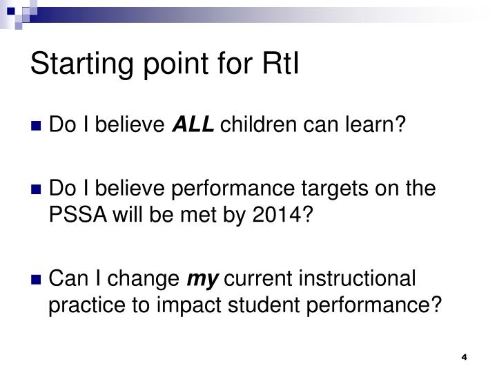 Starting point for RtI