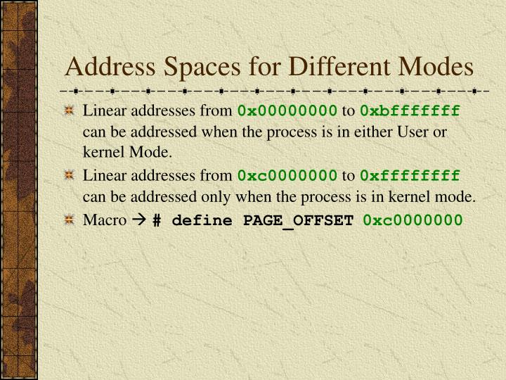 Address Spaces for Different Modes