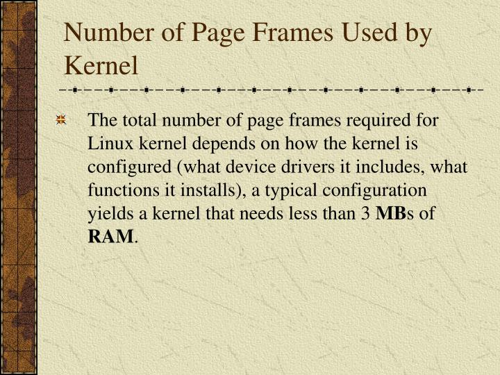 Number of Page Frames Used by Kernel