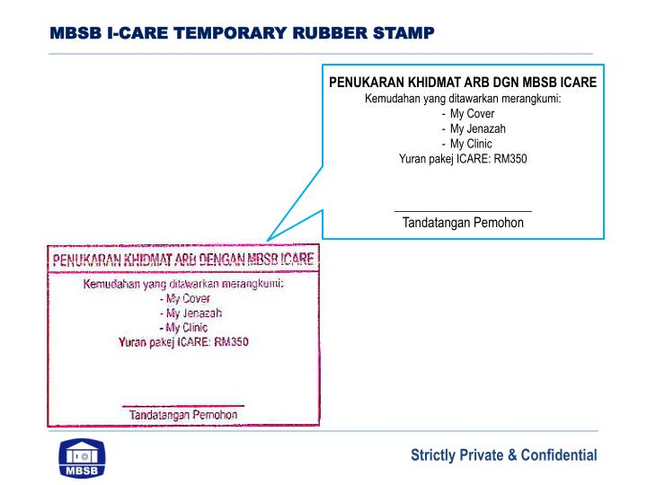 MBSB I-CARE TEMPORARY RUBBER STAMP