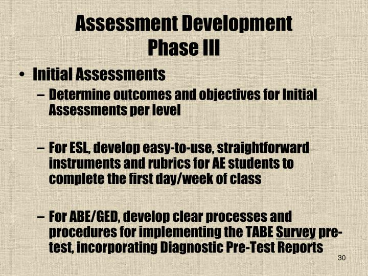 Assessment Development