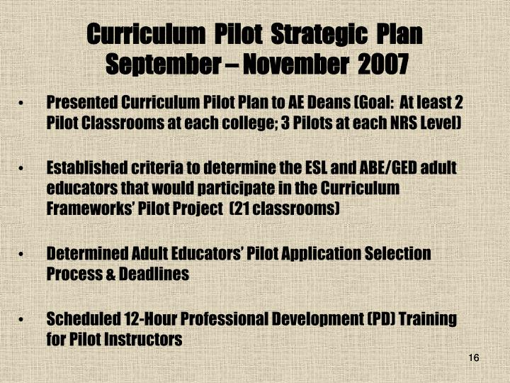 Curriculum  Pilot  Strategic  Plan
