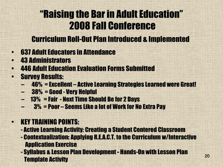 """Raising the Bar in Adult Education"""
