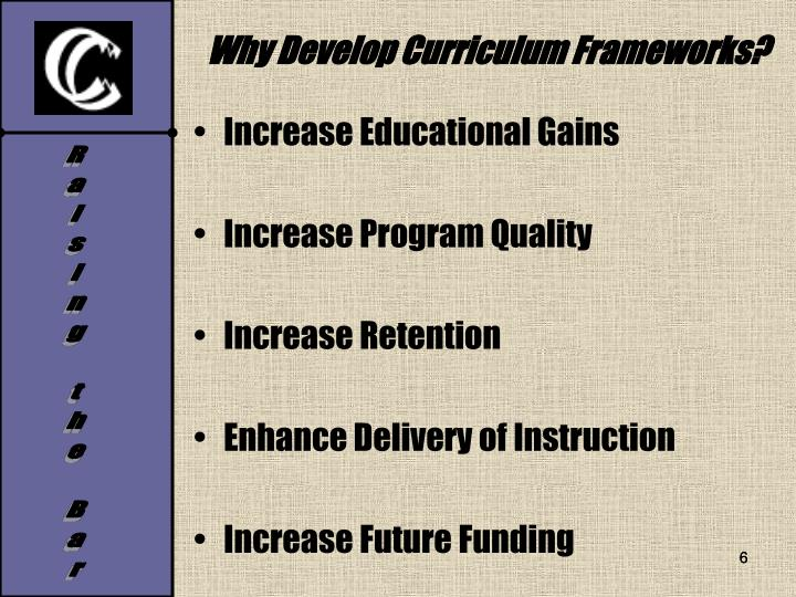 Why Develop Curriculum Frameworks?