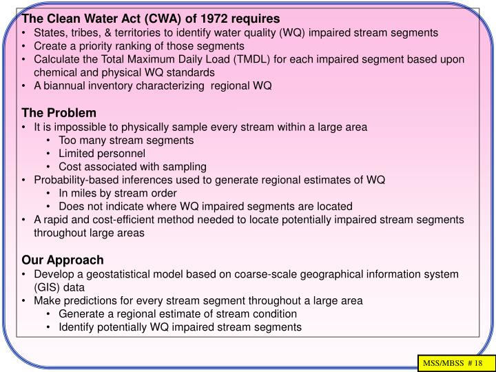 The Clean Water Act (CWA) of 1972 requires