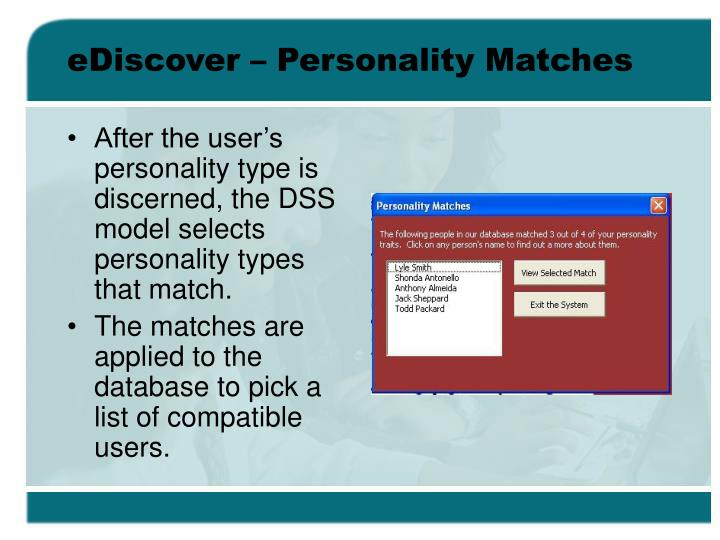 eDiscover – Personality Matches