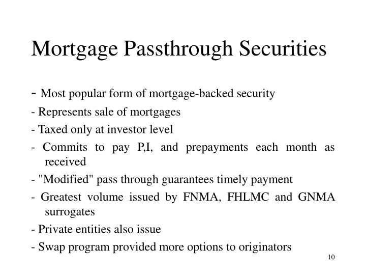 Mortgage Passthrough Securities