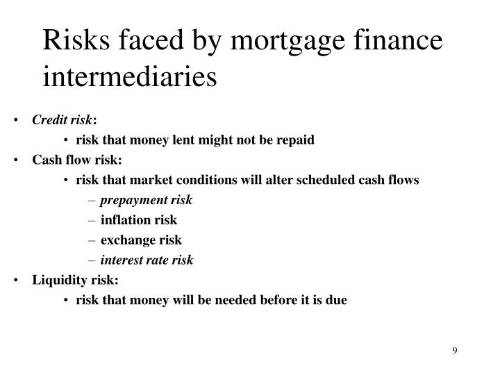Risks faced by mortgage finance intermediaries