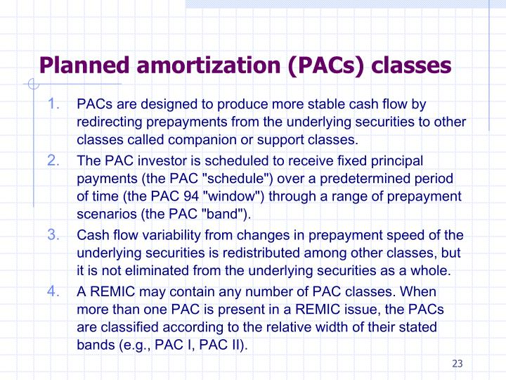 Planned amortization (PACs) classes