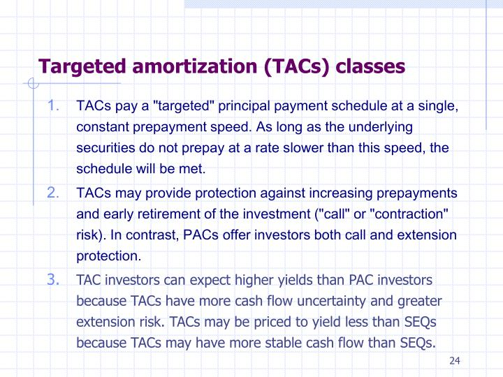 Targeted amortization (TACs) classes