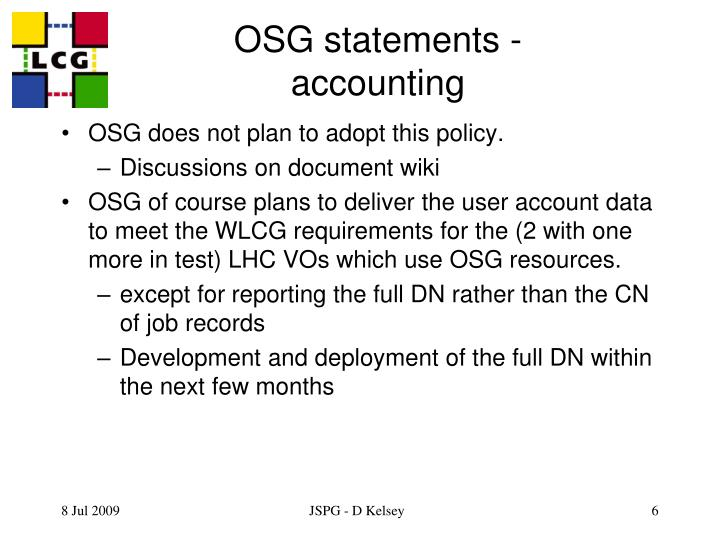 OSG statements - accounting