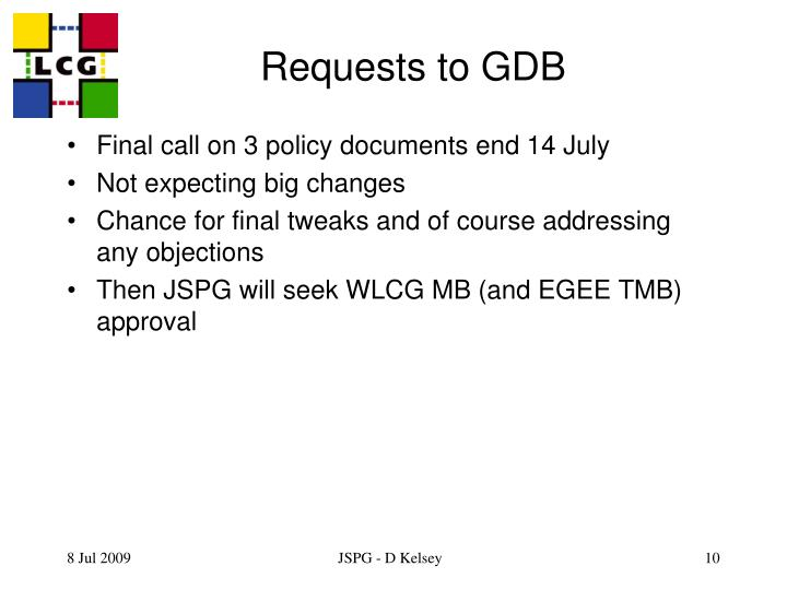 Requests to GDB