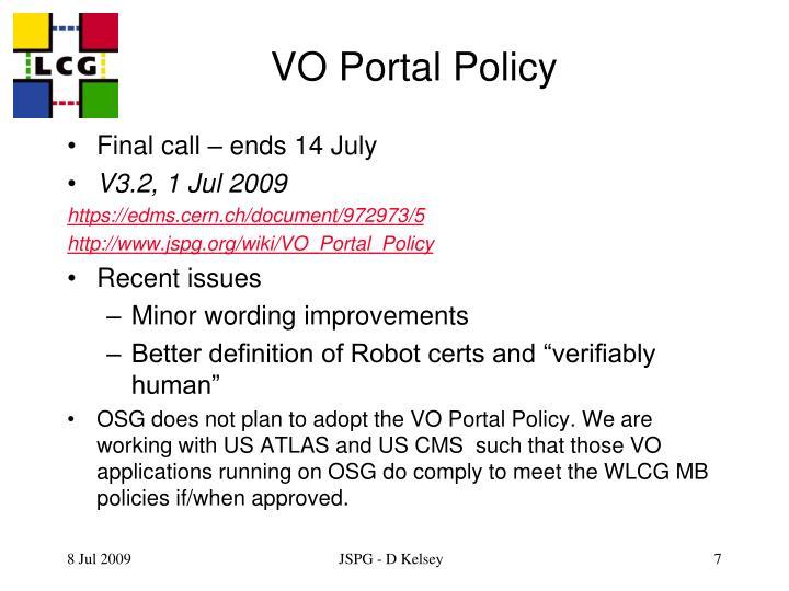 VO Portal Policy