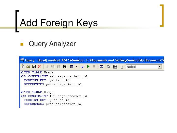 Add Foreign Keys