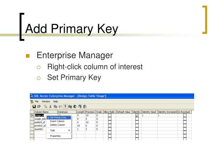 Add Primary Key