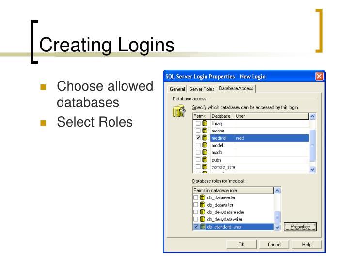 Creating Logins