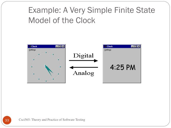 Example: A Very Simple Finite State Model of the Clock
