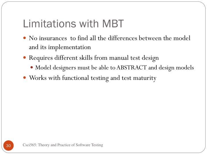Limitations with MBT