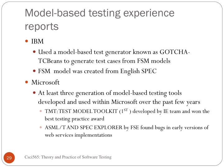 Model-based testing experience reports